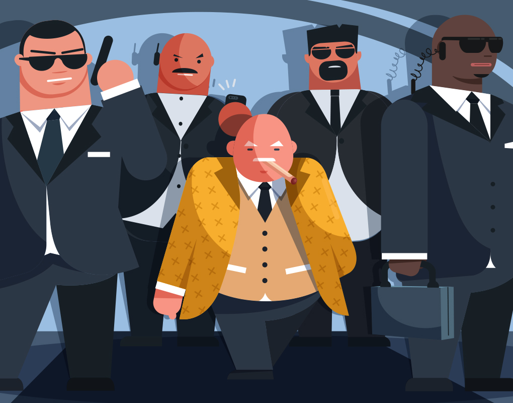 Results image of small man with bodyguards cartoon