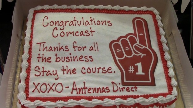 Results image of congratulations cake to Comcast