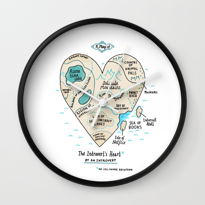 a-map-of-the-introverts-heart-wall-clocks