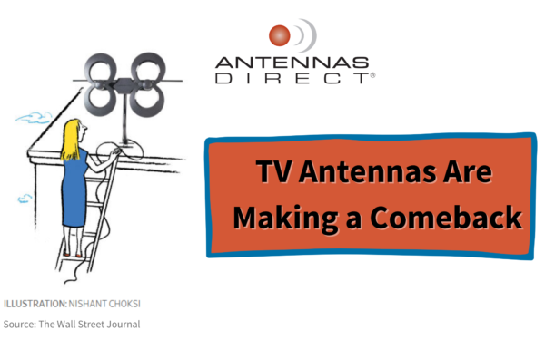 TV Antennas Are Making a Comeback, cartoon woman on ladder placing an Antennas Direct ClearStream 4MAX on the roof