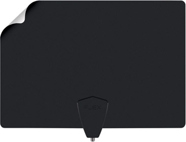 ClearStream FLEX Amplified TV Antenna, one corner flipped to show reversible white and black sides